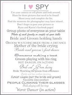 I Spy Wedding Game - Wedding Photography