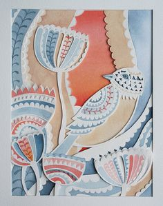 beautiful watercolor and layered cut paper by Louise Jenkns...love the overall effect and the tiny details...