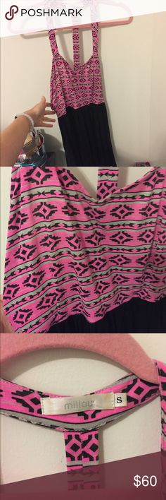 LF Pink Aztec Dress Super cute dress from LF. Aztec with pink on the top and the bottom is black. The back has adorable caged cut outs. Size small. LF Dresses Mini