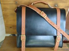 Hand stitched Black leather messenger bag with golden brown bridle leather trim / solid brass hardware