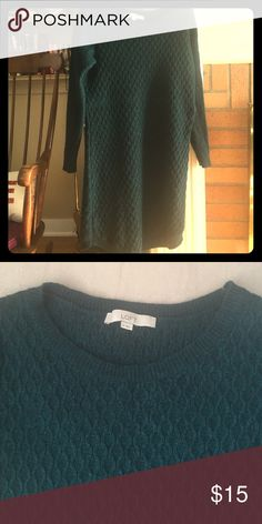 Dark Green Loft Sweater Dress/ Tunic In excellent shape- combo of rayon/wool/cotton/rabbit hair.  Beautiful deep green with blue tone.  I wore as a tunic with leggings, as this is a little on the shorter size for me. LOFT Sweaters