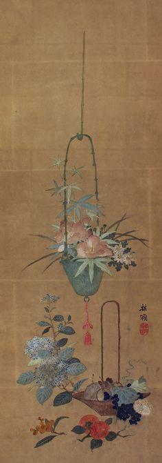 Flower and Fruits basket. Japanese hanging scroll, kakejiku.