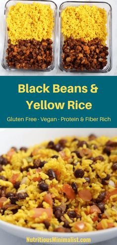 Black Beans and Yellow Rice Recipe - Nutritious Minimalist - Healthy Recipes Yellow Rice And Black Beans Recipe, Yellow Rice Recipes, Black Bean Recipes, Black Rice, Chicken And Yellow Rice, Healthy Meal Prep, Healthy Dinner Recipes, Cooking Recipes, Gourmet