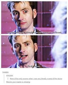 """This scene totally creeped me out. <--- I know that he was kind of forced to face reality, but I am really glad that the Doctor's """"TimeLord Victorious"""" phase didn't last long. Because, honestly, he scared me."""