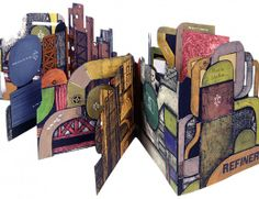 Refinery by John Ross. 3-D construction of color collagraph images & etchings w/ shapes & textures evok oil refineries. Images on front & back of the book, w/ further images which fold out from the back. Collagraphs printed on etching press on Fabriano Murillo & Arches Cover paper. Text type is News Gothic, set in Linotype. Headlines are wood & metal fonts. Type printed on Vandercook 219 proofing press. Green cloth box w/ magnetized front opening.