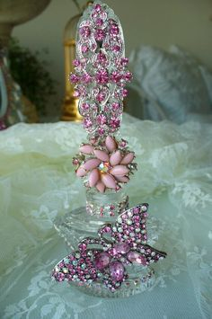 Antique Bejeweled Perfume Bottle 7 By Debbie Del Rosario-perfume, bottle, antique, jewels, crown, cottage, romantic, mirror, Juliana, Weiss, Eisenberg, Lisner, Pink