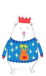 polar bear in christmas jumper by Jenny MacKendrick, stitch-ink