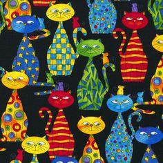 Packed Cats - Timeless Treasures - Fat - bilder - Katzen World Decoupage Vintage, Wal Art, Cat Quilt, Cat Mouse, Cat Colors, Bright Colors, Cat Drawing, Art Plastique, I Love Cats