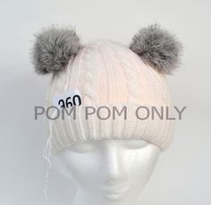 RABBIT POMPOM PAIR Fur Pom-Pom Fur Ears Real by SunnyBunnyCrochet