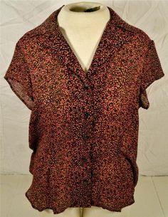 Studio by Liz Claiborne Size 14 100% Polyester Short Sleeve Button Up Blouse