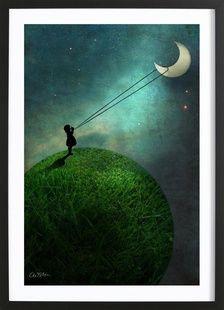 Chasing The Moon - Catrin Welz-Stein - Poster im Holzrahmen