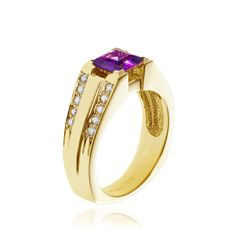 14kt yellow gold amethyst and diamond ring.