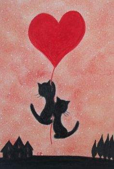 #Cat Card; Cat #Heart Card, #Love Card Cats,# Anniversary Card #Black Cat, Heart Card £2.20