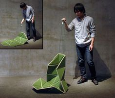 Pata Chair - Innovative chair by Japanese designer Hiroyuki Morita transforms into a floor mat when not in use.