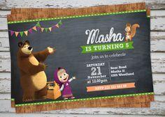 Masha y el oso de cumpleaños partido invitación por DebsPrintables