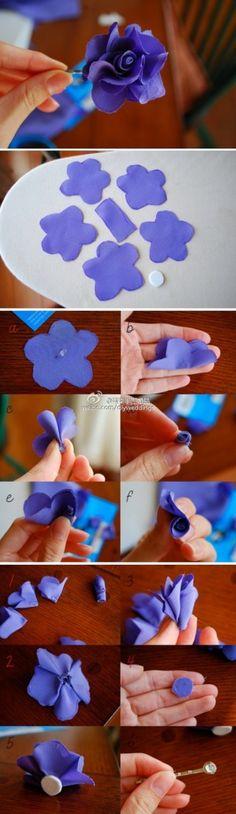 Nog een textiel bloemetje maken