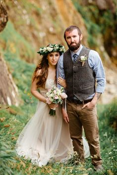 bohemian wedding style Elope Ireland floral head wreath groom's tweed vest