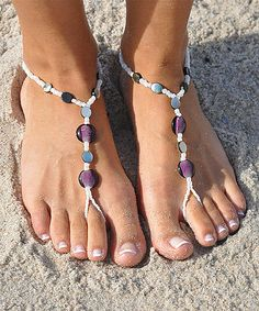 SunSandals White & Abalone Beaded Barefoot Sandal by SunSandals #zulily #zulilyfinds