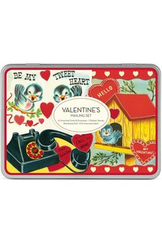 "Made by Cavallini & Co. this set includes 24 assorted Valentine's themed cards and envelopes 3 rubber stamps a red stamp pad and 100 assorted stickers. You'll have a great time making each card unique and beautiful with your own touches. The set comes in a lovely metal tin measuring 8.5"" long by 6"" by 1.25"" thick.  Valentine's Mailing Set by Cavallini & Co. Home & Gifts - Home Decor - Holiday Boulder Colorado"
