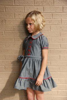Girls red ric rac trim dress - Peter pan collar dress 5 6 7 8 9 years -  girls all season dress