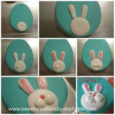 Happy Easter  Bunny face cookie tutorial