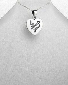 STERLING SILVER HAWAIIAN ALOHA HANA I LOVE YOU HEART PENDANT NECKLACE #Pendant