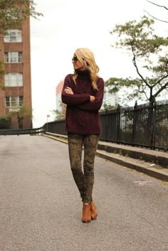 Atlantic-Pacific's Blaire Eadie Bee in cabernet knit and camo skinnies