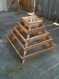 Pyramid Planter, herb garden, strawberry planter, vertical planter,. $100.00, via Etsy.
