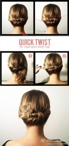 """ELEGANT UP DO Whether for a special occasion or for those travel moments when you just want to feel like a """"lady"""", up dos with twists and braids look both elegant and don't require special tools to create. I love this quick twist which also works well with thin, long hair like mine."""