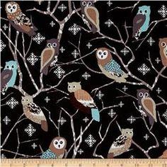 Kanvas Shades of Winter Snowy Owls Black