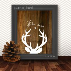 Deer Print wooden print Deer Head Holiday