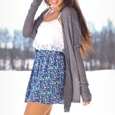 White lace crop top, oversized gray cardigan and floral high waisted skirt-Abercrombie and fitch