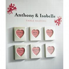 Kleine Magnet-Bilderrahmen in Herzform - super geeignet als Gastgeschenk bei der Hochzeit oder als Tischkarte zur Erinnerung