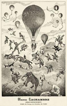 Advertisement for aeronaut and balloon manufacturer Henri Lachambre, late 1800s  via Wikipedia