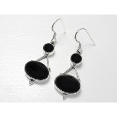 House of Audrey - Sterling Silver Cabochon Black Onyx Earrings