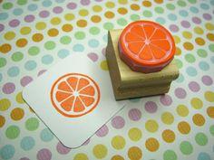 Citrus Slice - Hand Carved Rubber Stamp