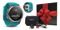WHAT'S INCLUDED IN THE GIFT BOX?: -Garmin fenix 5S (Silver with Turquoise Band) Multi-Sport Training GPS Watch (with On-Wrist HR) -HD Glass Screen Protector (fenix 5S) -One (1) PlayBetter USB Wall Adapter -One (1) PlayBetter USB Vehicle Adapter -One (1) PlayBetter Hard GPS Carrying...