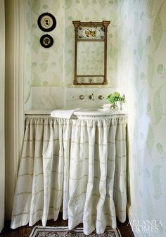 charming bathroom -- really fabulous ideas for such an awkward space