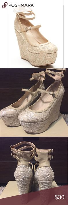 New nude lace wedges Never worn wedges Shoes Wedges