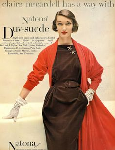Evelyn Tripp in dress and coat by Claire McCardell, Harper's Bazaar, August 1951