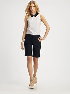 Bermuda Shorts are a classic cut.  I like that they accentuate your leg line.  If you do not know what short length is appropriate for your age, height, or event.... the bermuda style is always tasteful.
