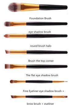 2017 New Eye Shadow Foundation Eyebrow Lip Brush Makeup Brushes Tool Makeup Brush Bag, Eye Makeup Brushes, Eyeliner Brush, Lip Brush, Makeup Tools, Makeup Hacks, Makeup Geek, Makeup Tutorials, Makeup Trends