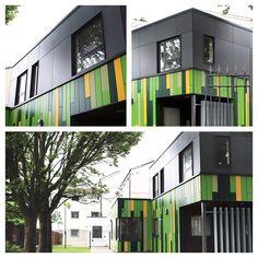 John McCall Architects, Shalcross Court. Sheltered housing scheme with multi-coloured cladding