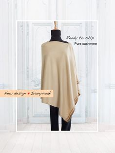 Pure cashmere poncho / Cashmere poncho / Stripe poncho / Women poncho / Poncho / Pure cashmere / Ivory / Ready to ship by SoftyWooly on Etsy Cashmere Poncho, Merry Christmas And Happy New Year, News Design, Knitwear, Ivory, Tunic Tops, Ship, Pure Products, Stylish