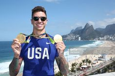 U.S. Olympian Anthony Ervin poses with his Olympic Medals on the Citi Terrace of…