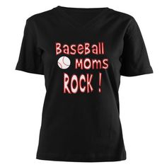 Baseball Moms Rock ! Women's V-Neck Dark T-Shirt