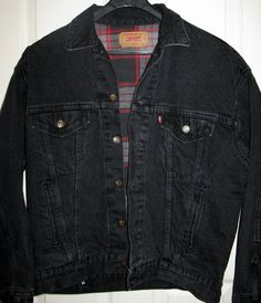 Vintage Levi's Denim Jacket  Black Heavy Duty by SanctuaryofStyle