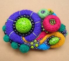 Brooches – Julia Multicolour Felted Beaded Brooch – a unique product by irina8 on DaWanda