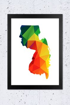 New Jersey Map Printable File, New Jersey Silhouette Geometric Polygon Pattern in Red, Green Blue, Yellow, Orange, Purple Colors.  **This listing