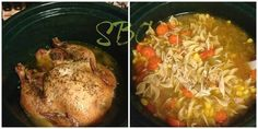 LOVE this idea!!! <3 Crock Pot Chicken and Next Day Chicken Noodle Soup <3 Looking for a CHEAP recipe that you can spread over two days?!? You have come to the right place Crock Pot Chicken w/ mashed potatoes (or mashed cauliflower) one day, and Chicken Noodle soup the next!!... Ingredients: (For Chicken) 1 Whole Chicken Seasoned Salt Garlic Power Italian Seasoning 1 Box Chicken Stock (for after the chicken is cooked and taken out) **If chicken is frozen make sure to THAW it out ...
